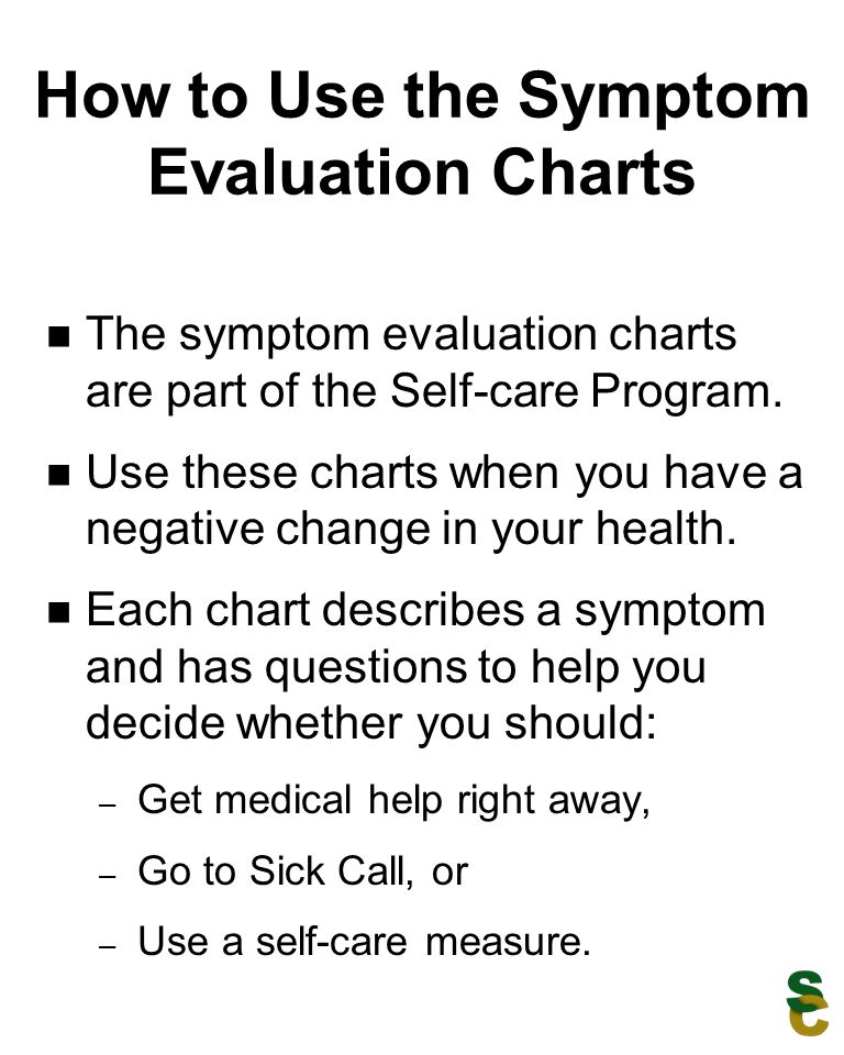 How to Use the Symptom Evaluation Charts