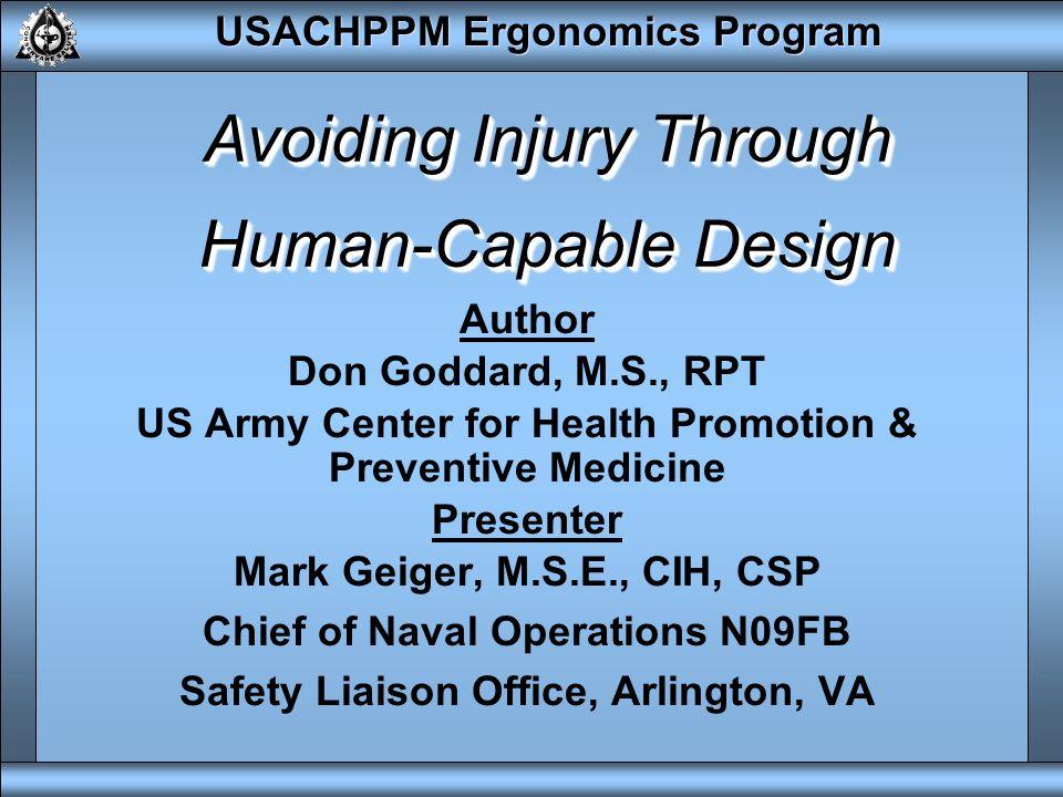 Avoiding Injury Through Human-Capable Design