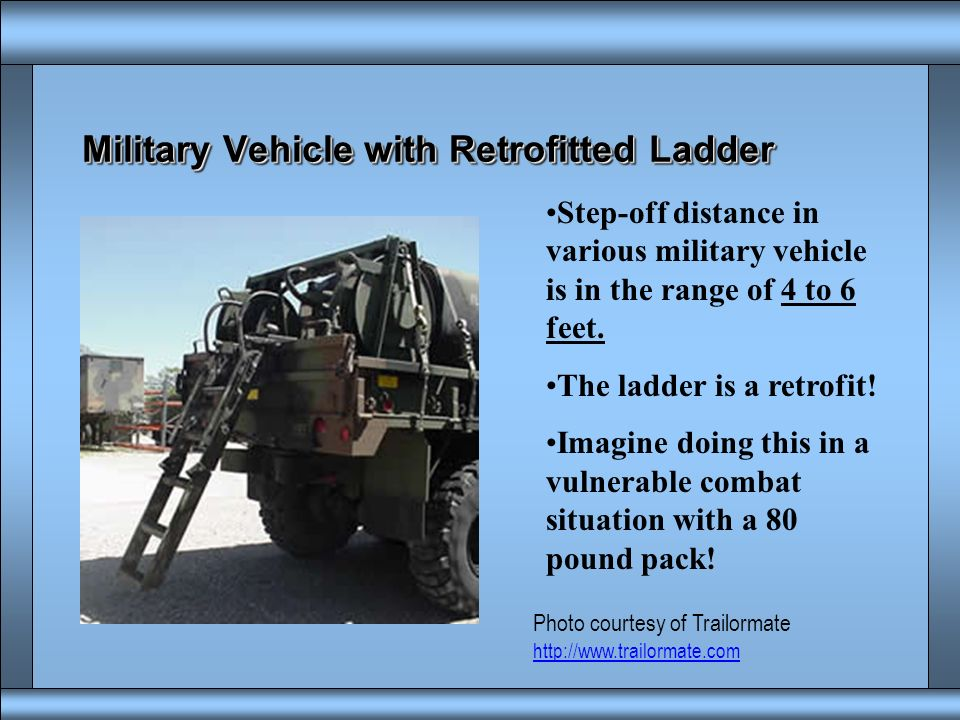 Military Vehicle with Retrofitted Ladder