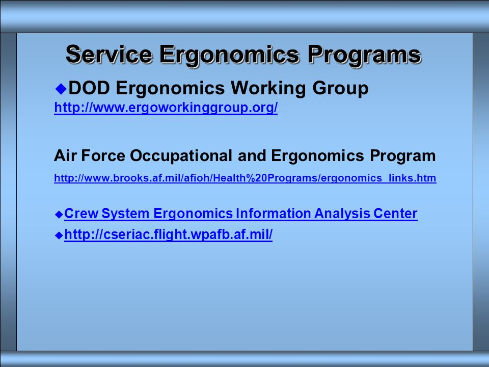Service Ergonomics Programs