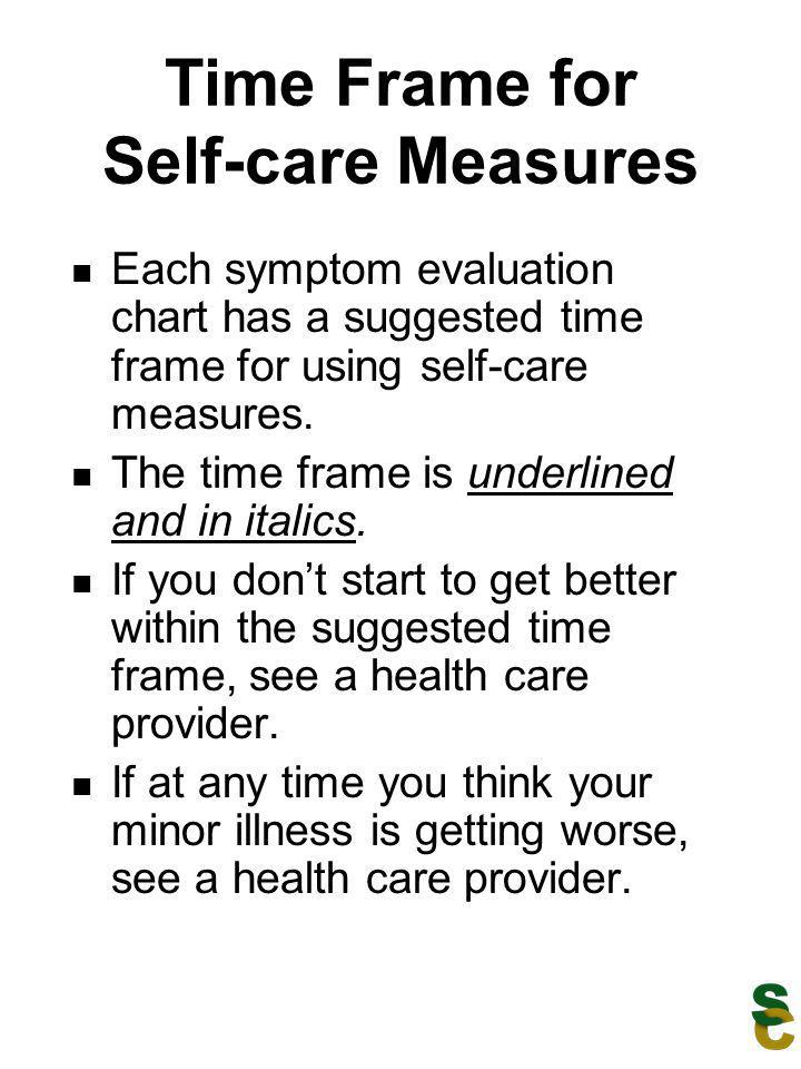 Time Frame for Self-care Measures