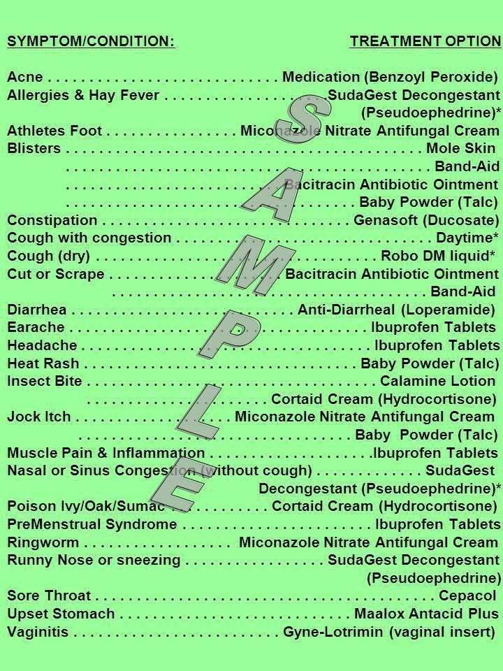 SAMPLE SYMPTOM/CONDITION: TREATMENT OPTION