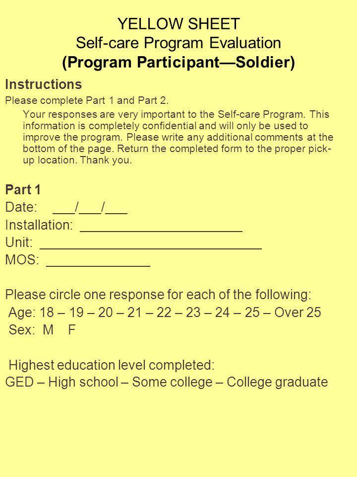 YELLOW SHEET Self-care Program Evaluation (Program Participant—Soldier)