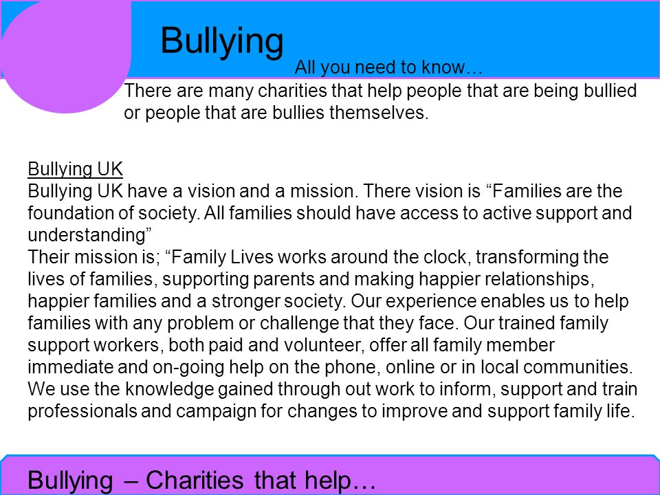 Bullying – Charities that help…