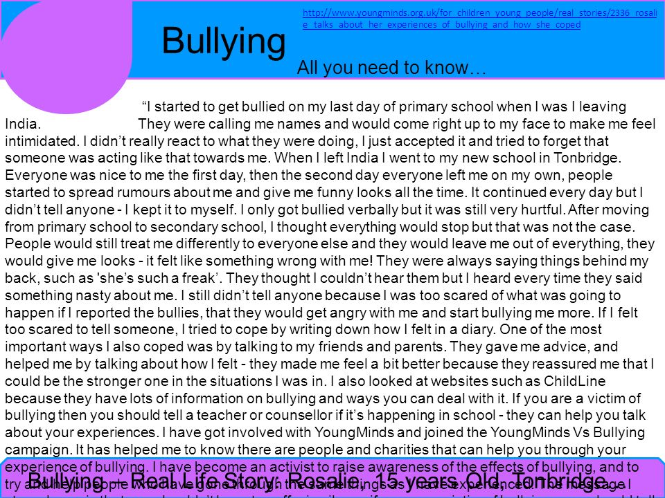 Bullying – Real Life Story: Rosalie, 15 years Old, Tonbridge…