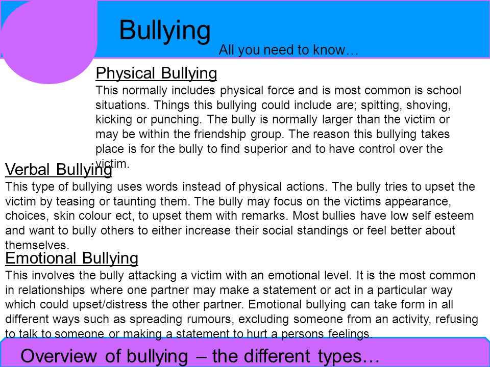 Overview of bullying – the different types…