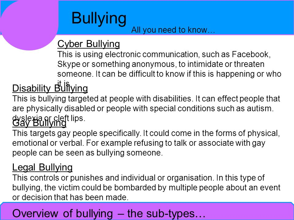 Overview of bullying – the sub-types…