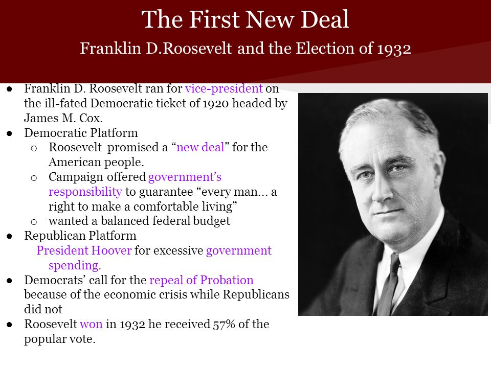 franklin d roosevelt the new deal Free essay: the great depression and franklin d roosevelt's new deal during the 1930's, america witnessed a breakdown of the democratic and free enterprise.