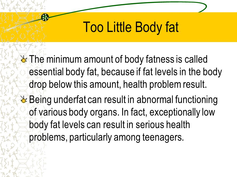 Too Little Body fat
