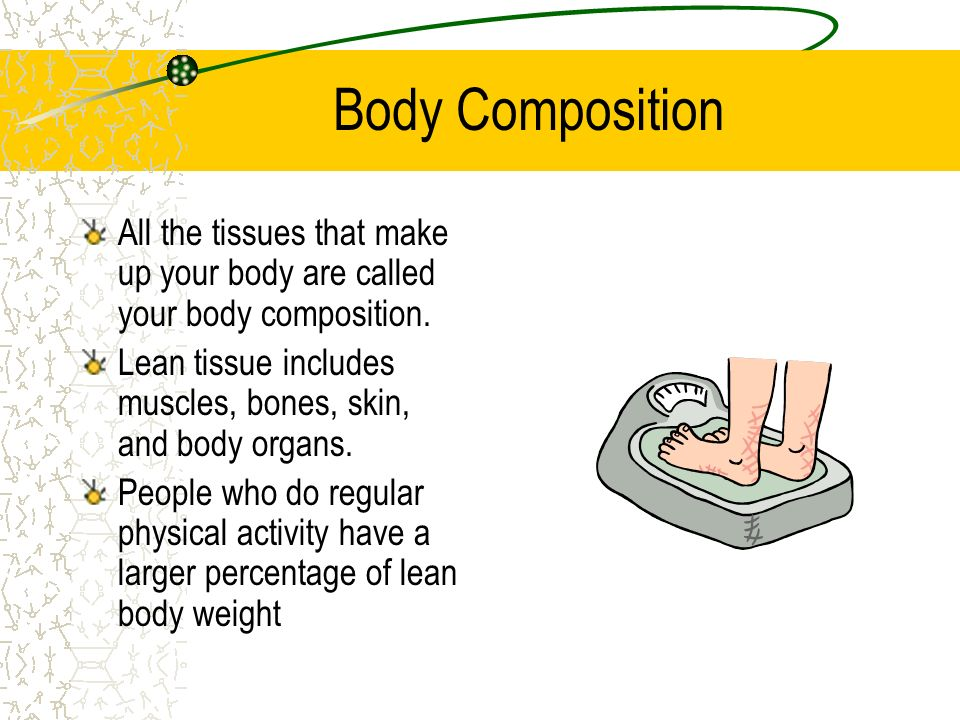 Body Composition All the tissues that make up your body are called your body composition.