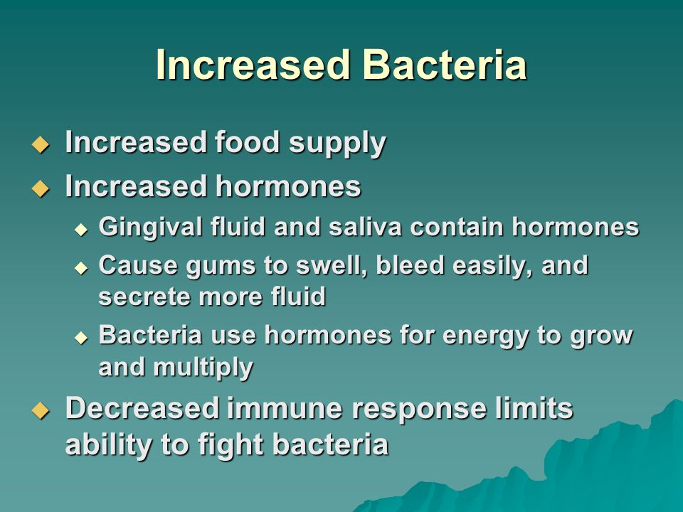 Increased Bacteria Increased food supply Increased hormones