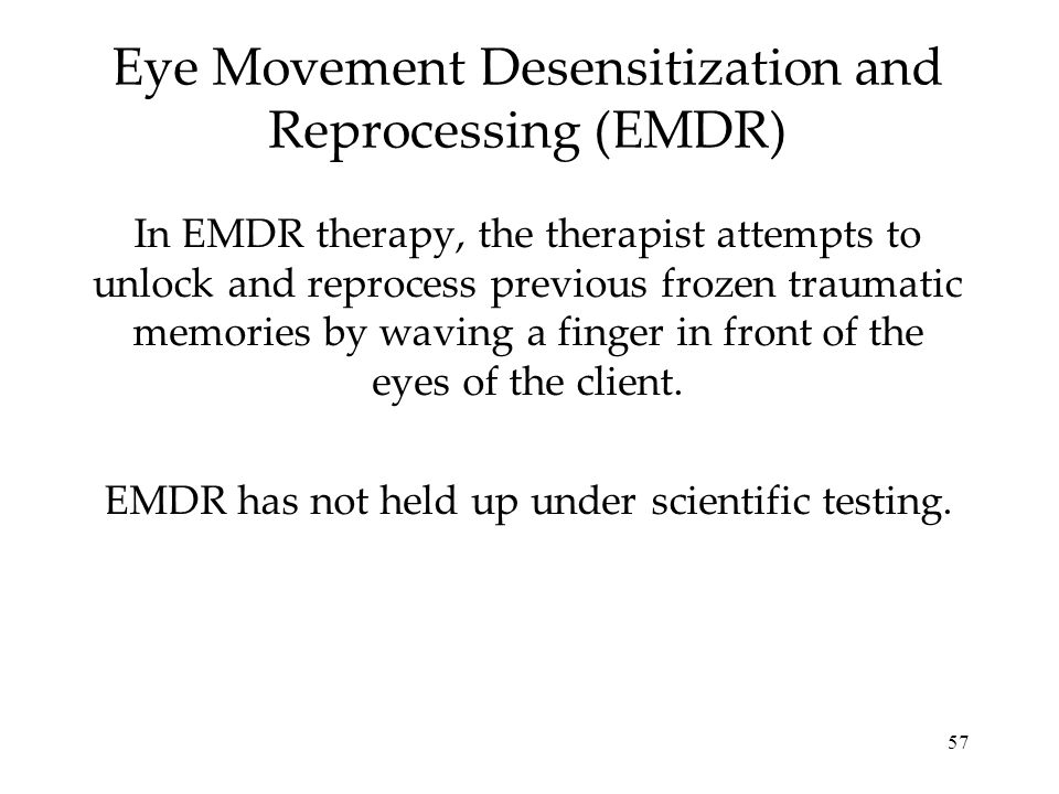 eye movement desensitization and reprocessing This film observes psychotherapist tom taylor in session with his client as they use eye movement desensitization and reprocessing treatment for trauma this.