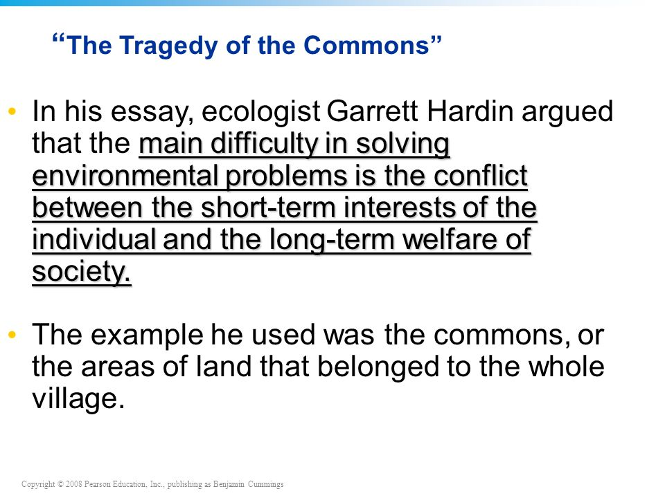 an introduction to environmental science chapters and  the tragedy of the commons