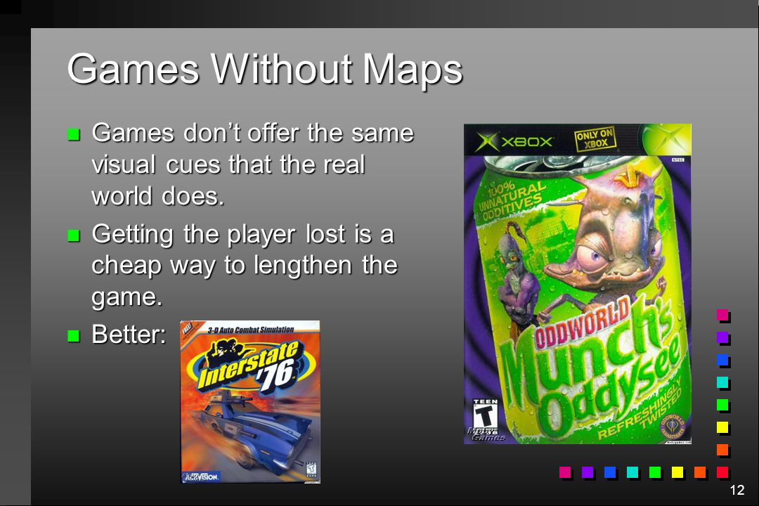 Games Without Maps Games don't offer the same visual cues that the real world does. Getting the player lost is a cheap way to lengthen the game.