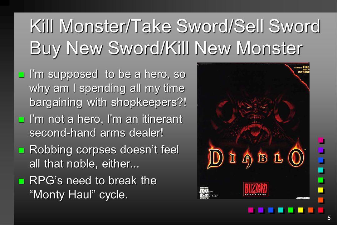 Kill Monster/Take Sword/Sell Sword Buy New Sword/Kill New Monster
