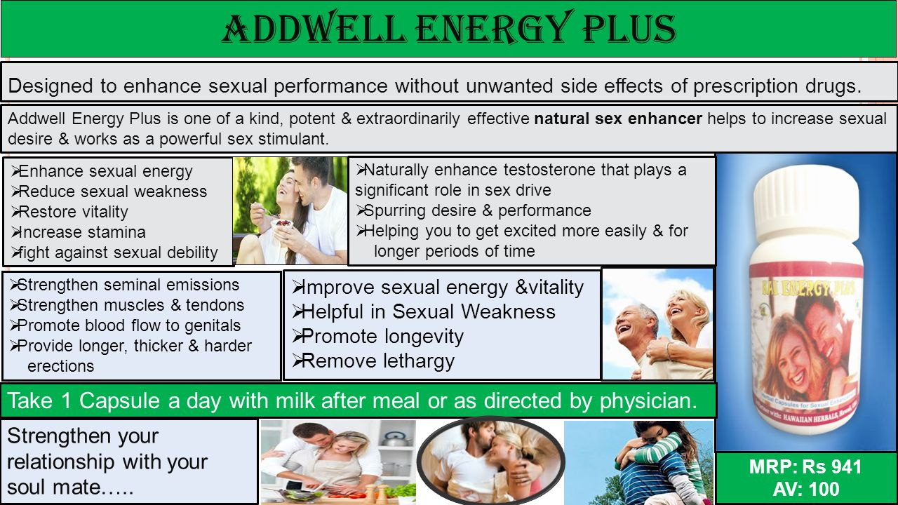 ADDWELL energy plus Designed to enhance sexual performance without unwanted side effects of prescription drugs.
