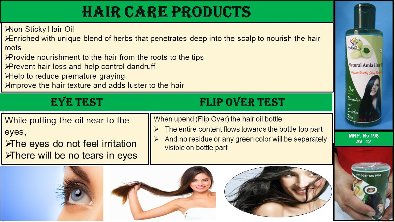 Hair Care Products Eye Test The eyes do not feel irritation