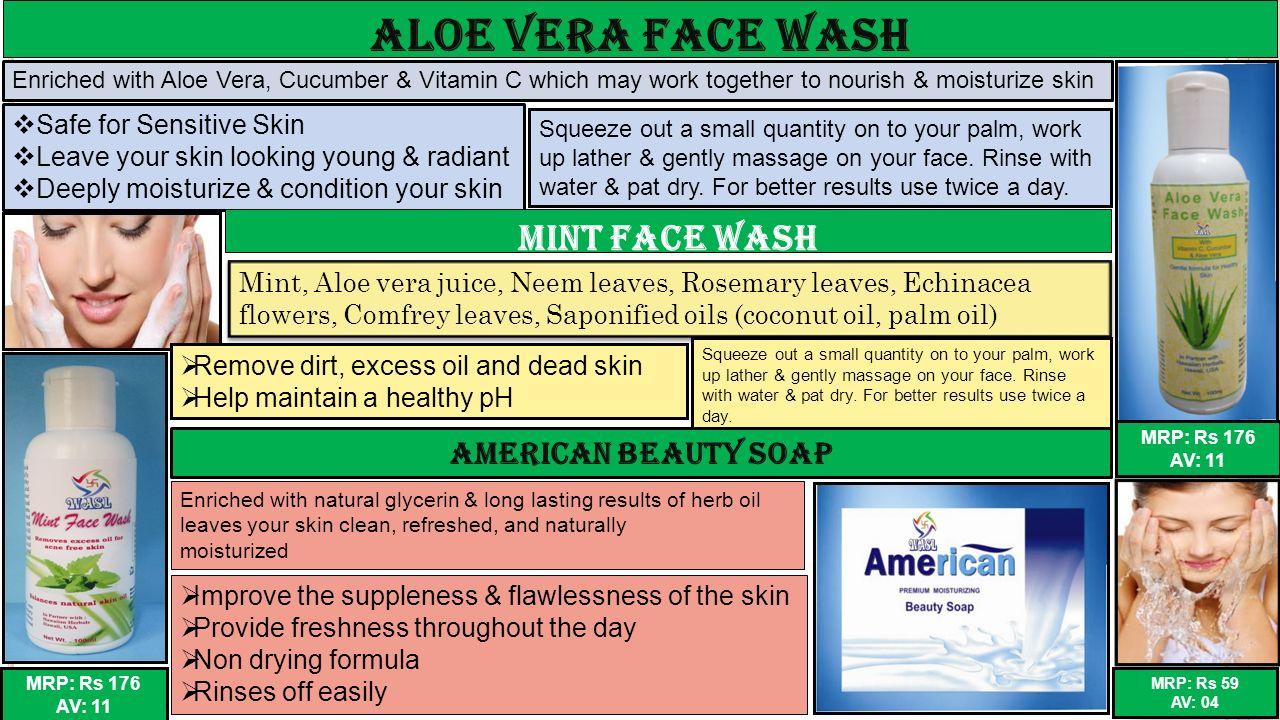 Aloe Vera Face Wash Mint Face Wash American BEAUTY SOAP