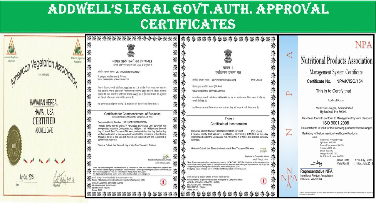 addwell's legal govt.auth. Approval certificates