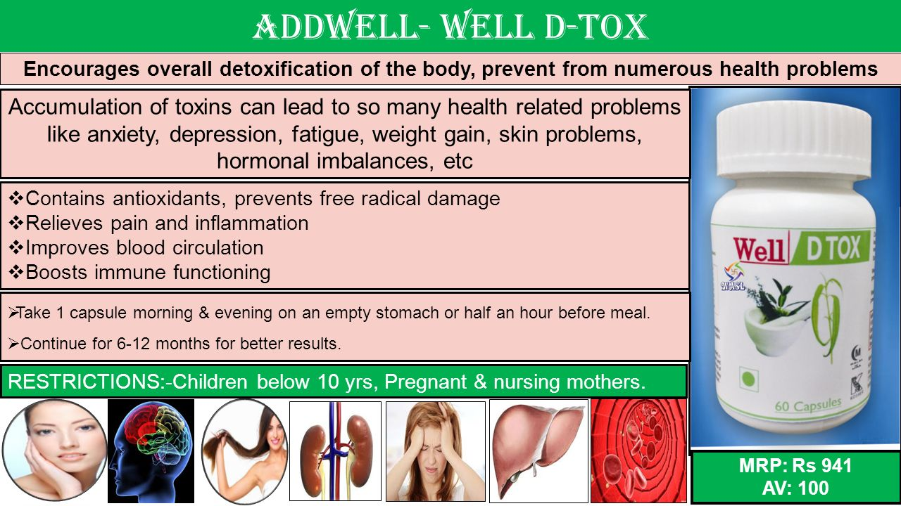 Addwell- Well D-tox Encourages overall detoxification of the body, prevent from numerous health problems.