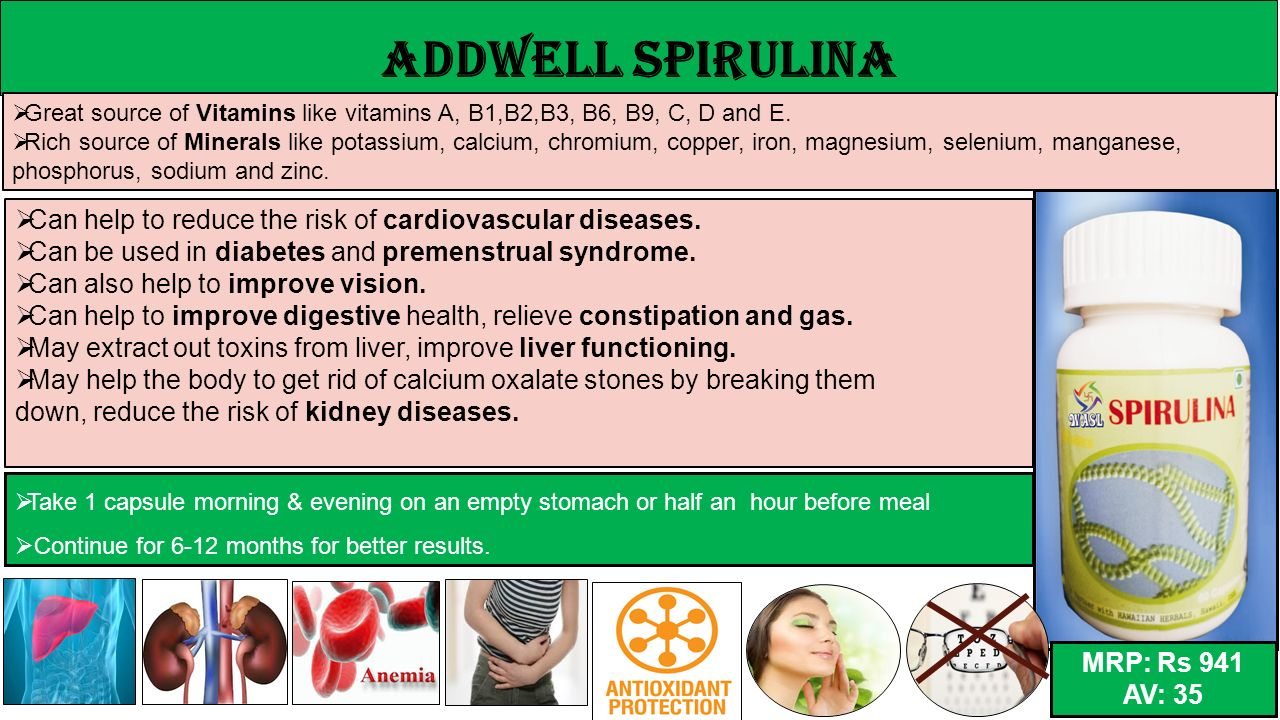 ADDWELL Spirulina Great source of Vitamins like vitamins A, B1,B2,B3, B6, B9, C, D and E.
