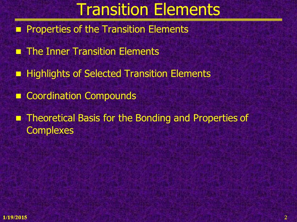 transition elements and coordination compounds biology essay The lewis acid in coordination complexes, often called a central metal ion (or  atom), is often a transition metal or inner transition metal, although main group.