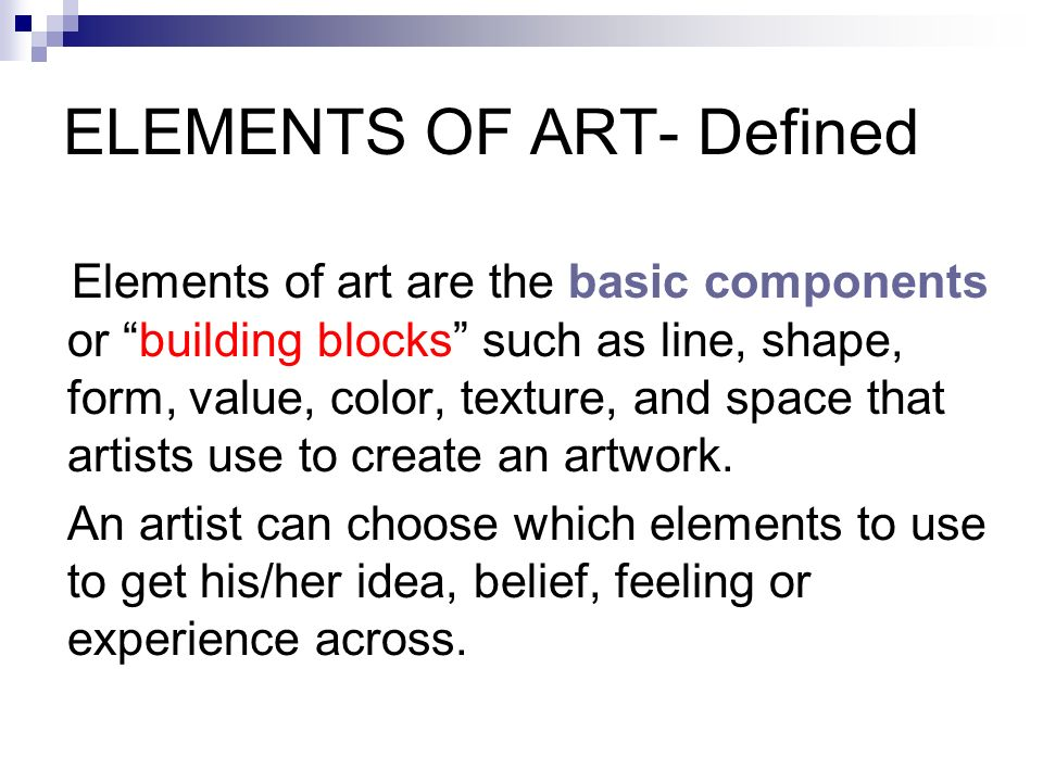 formal elements of art essay Knowing the 7 elements of art (line, shape, form, space, texture, value and color) allows you to analyze, appreciate, write about, and discuss art.