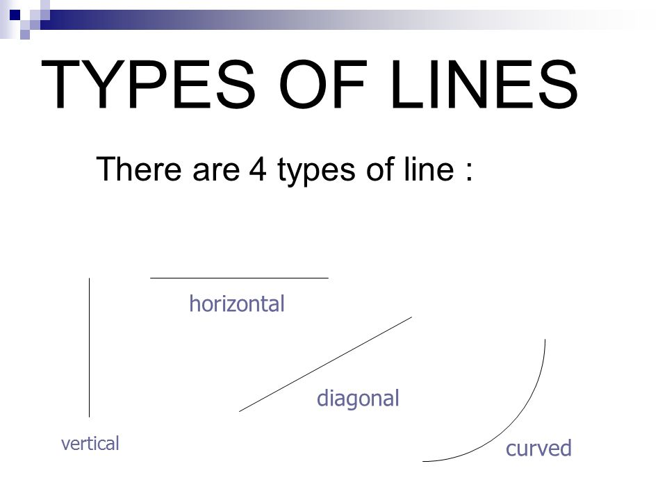 TYPES OF LINES There are 4 types of line : horizontal diagonal curved