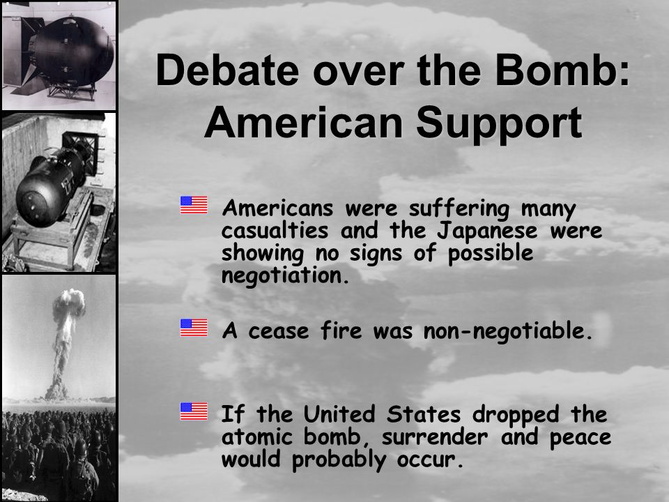 a question on the justification on the use of atom bomb by the united states Why was the united states justified in dropping the atomic bomb on japan.