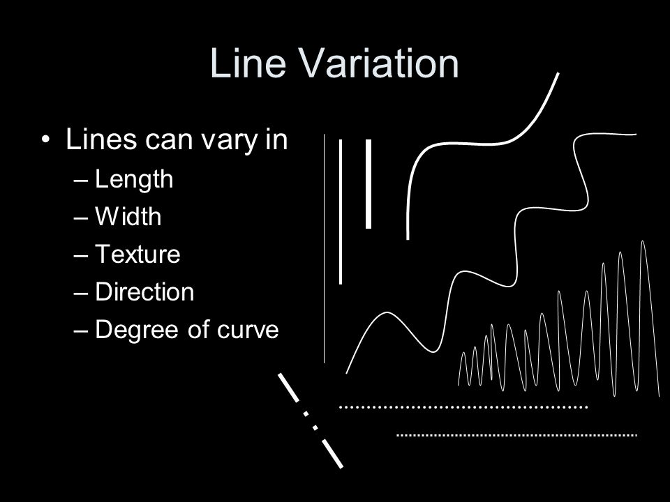 Line Variation Lines can vary in Length Width Texture Direction