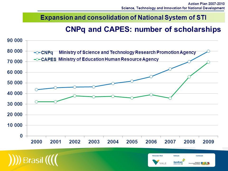 CNPq and CAPES: number of scholarships