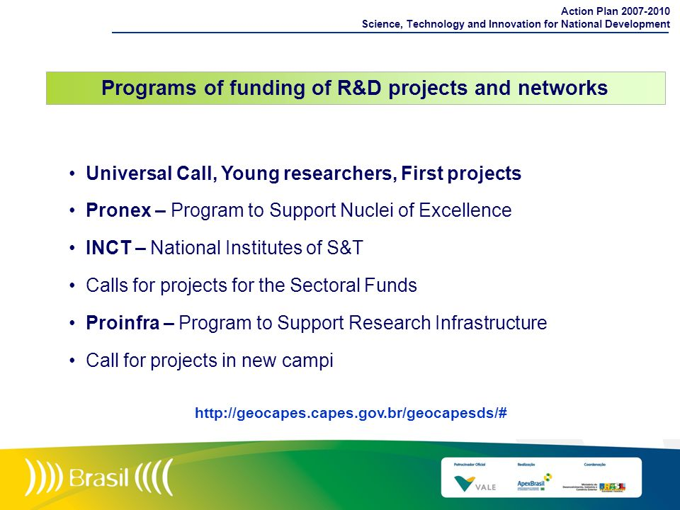 Programs of funding of R&D projects and networks
