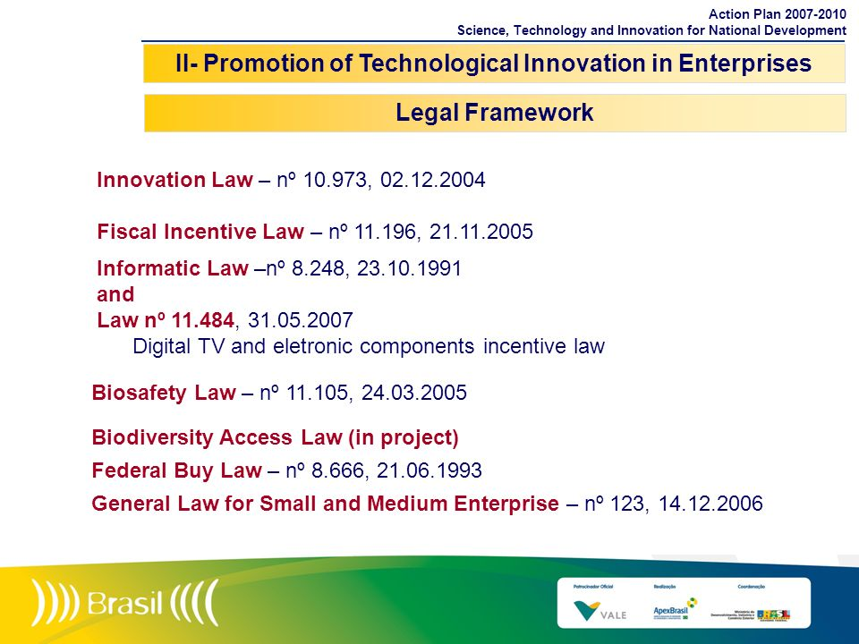 II- Promotion of Technological Innovation in Enterprises