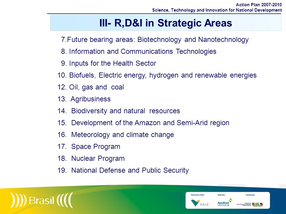 III- R,D&I in Strategic Areas