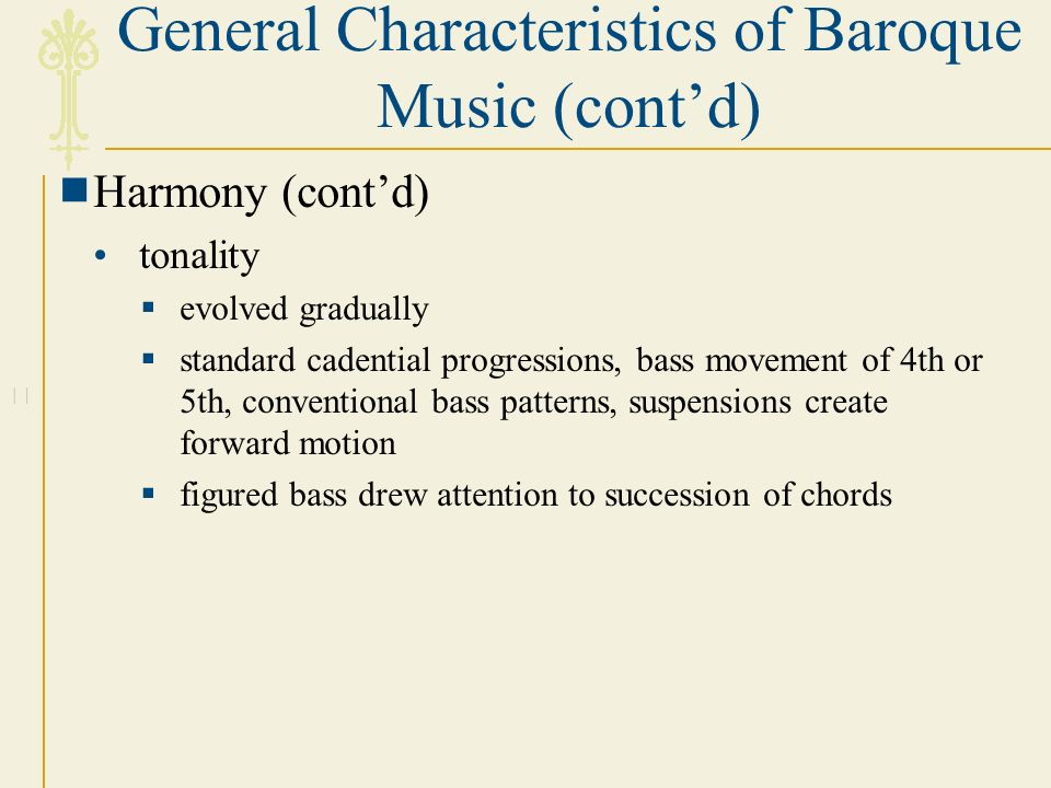 Baroque harmony and tonality for Characteristics of baroque period