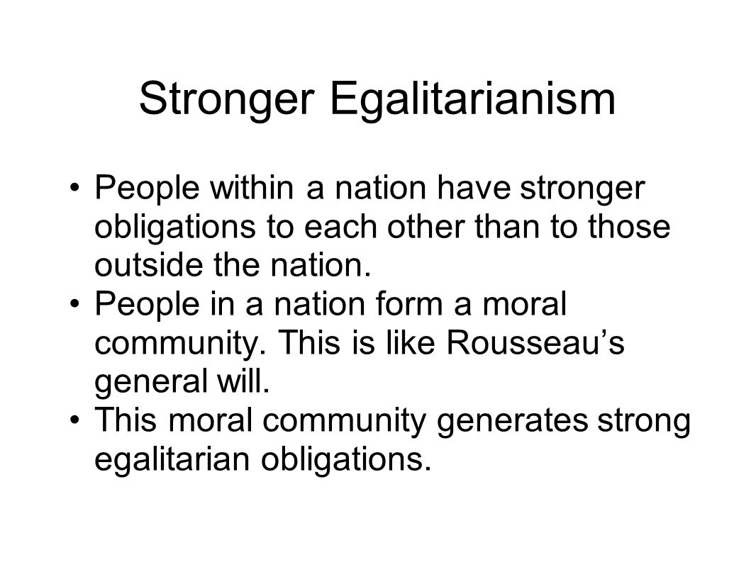 Stronger Egalitarianism