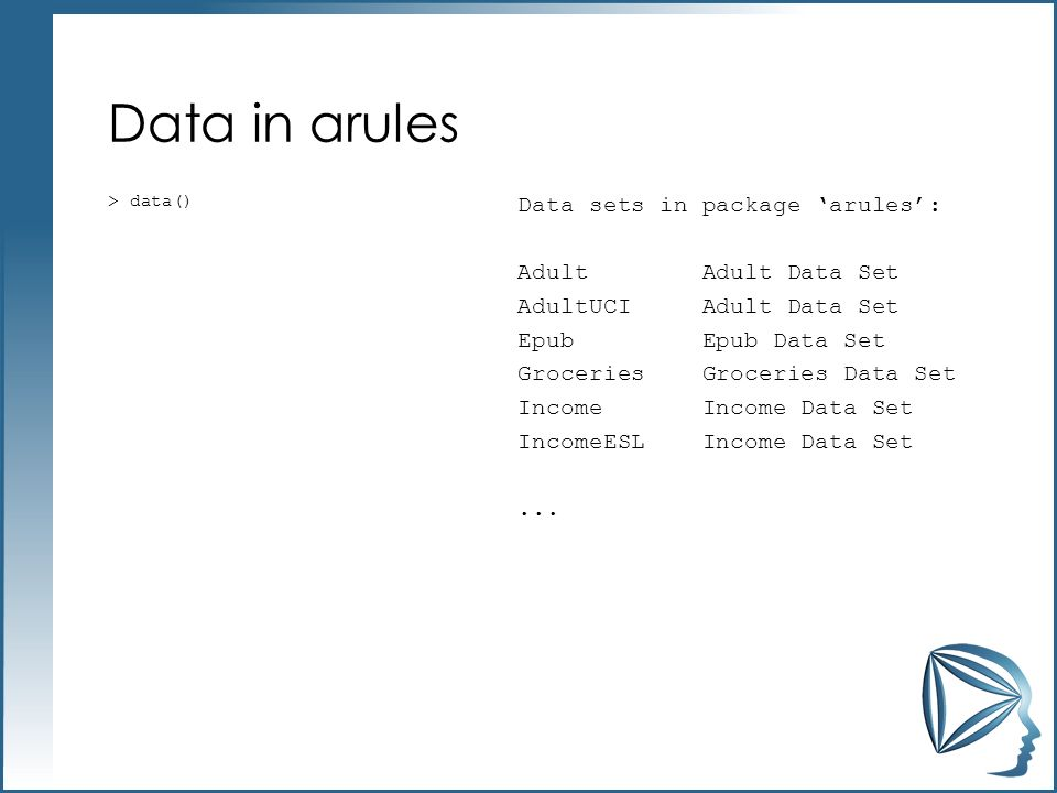 Data in arules > data()