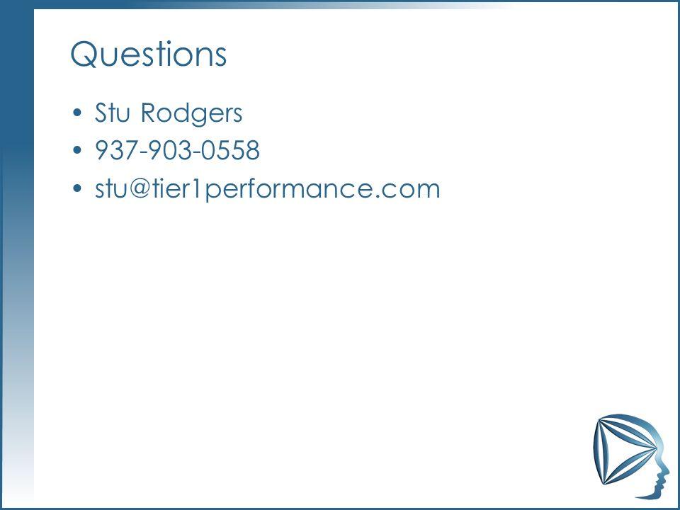 Questions Stu Rodgers 937-903-0558 stu@tier1performance.com