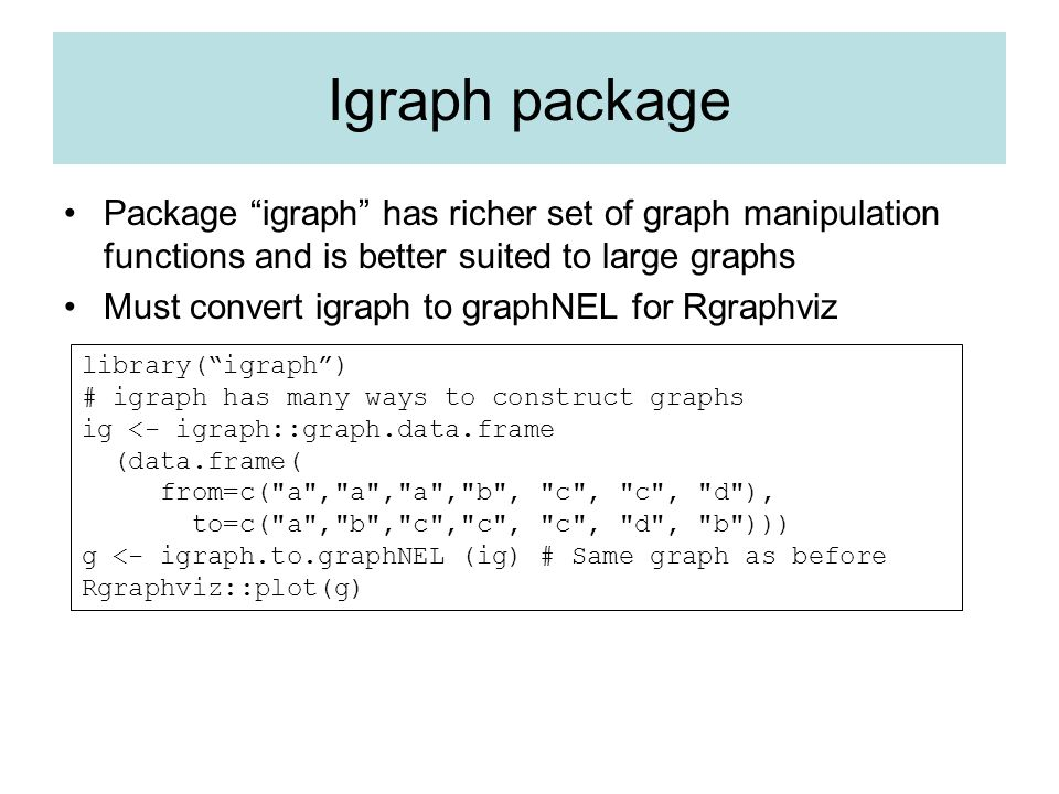 Igraph package Package igraph has richer set of graph manipulation functions and is better suited to large graphs.