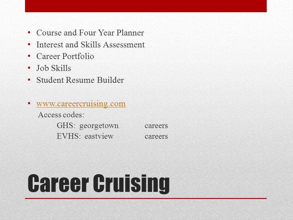 high school transition ppt download - Career Cruising Resume Builder