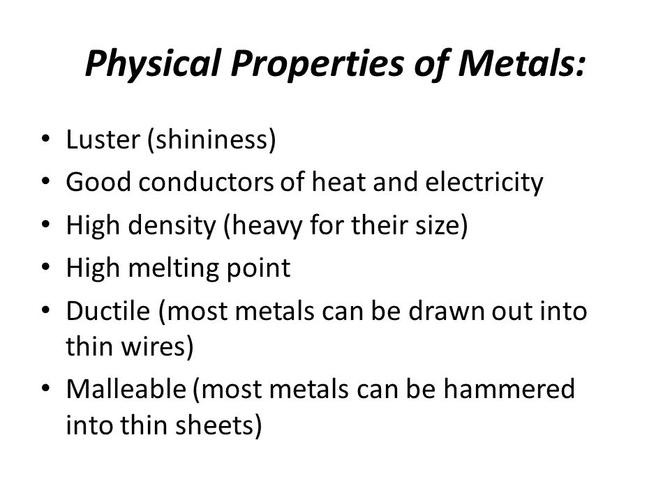 Periodic Table physical properties of elements on the periodic table luster : Metals Most elements are metals. 88 elements to the left of the ...