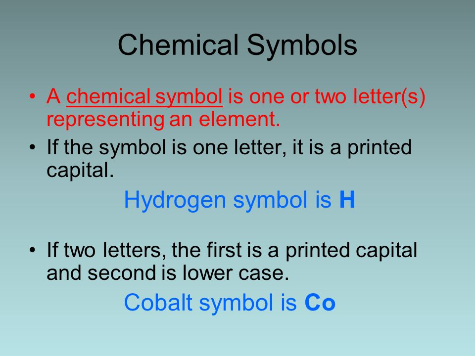 Chemical Symbols Hydrogen symbol is H Cobalt symbol is Co