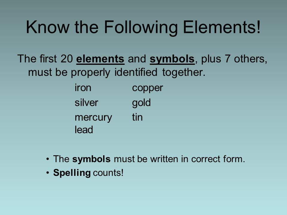 Know the Following Elements!
