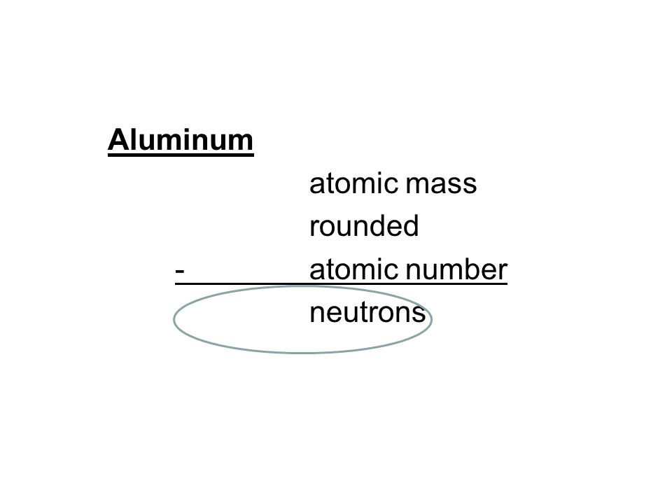 Aluminum atomic mass rounded - atomic number neutrons