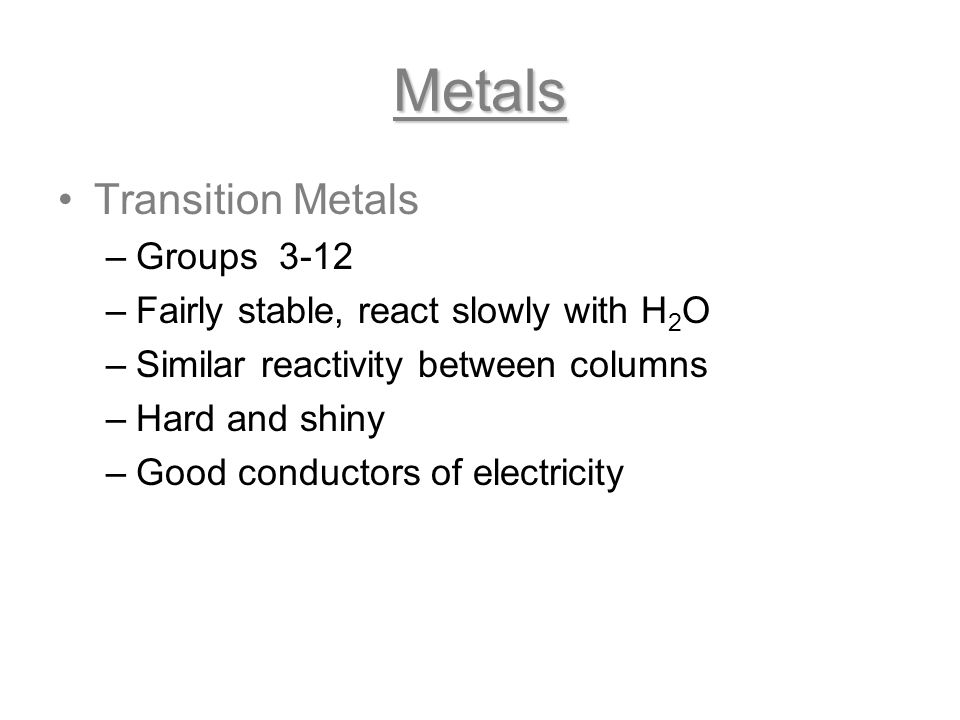 Metals Transition Metals Groups 3-12