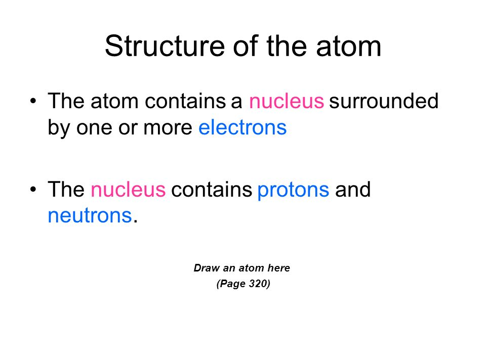 Structure of the atom The atom contains a nucleus surrounded by one or more electrons. The nucleus contains protons and neutrons.
