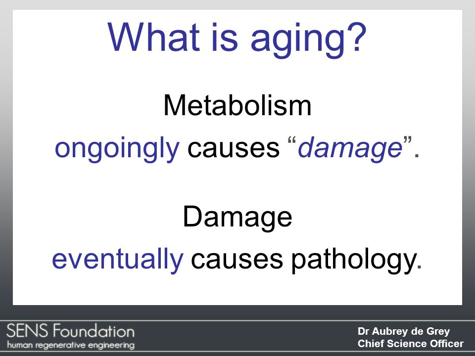What is aging Metabolism ongoingly causes damage . Damage