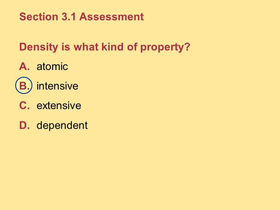 Section 3.1 Assessment Density is what kind of property.