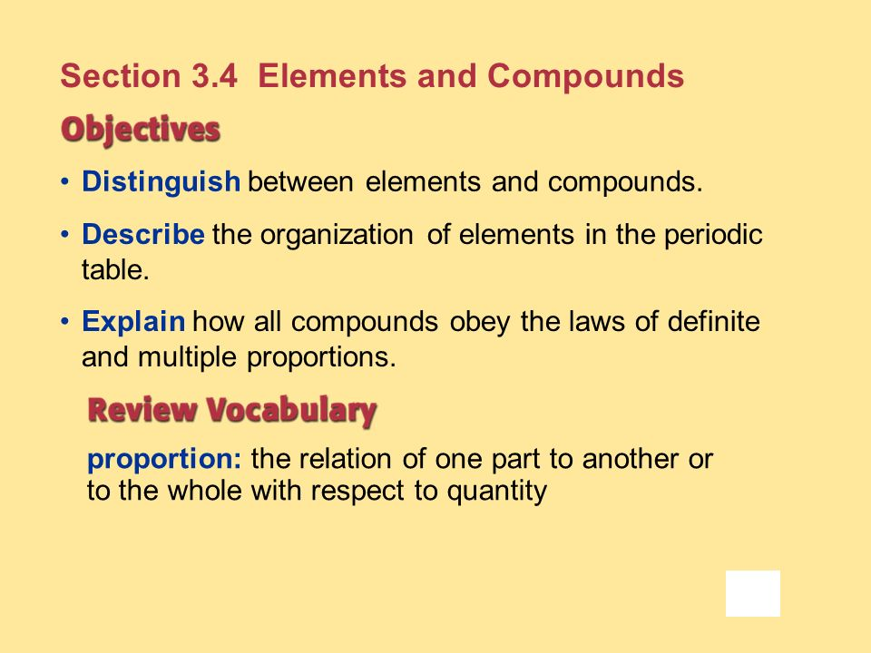 Section 3.4 Elements and Compounds