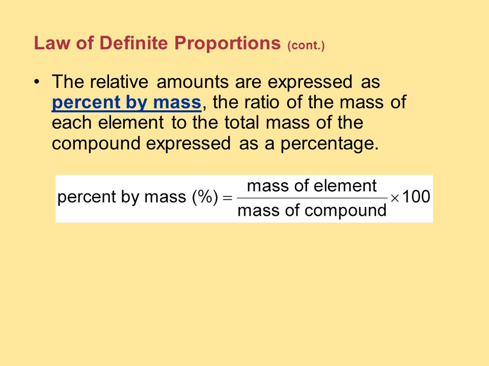 Law of Definite Proportions (cont.)